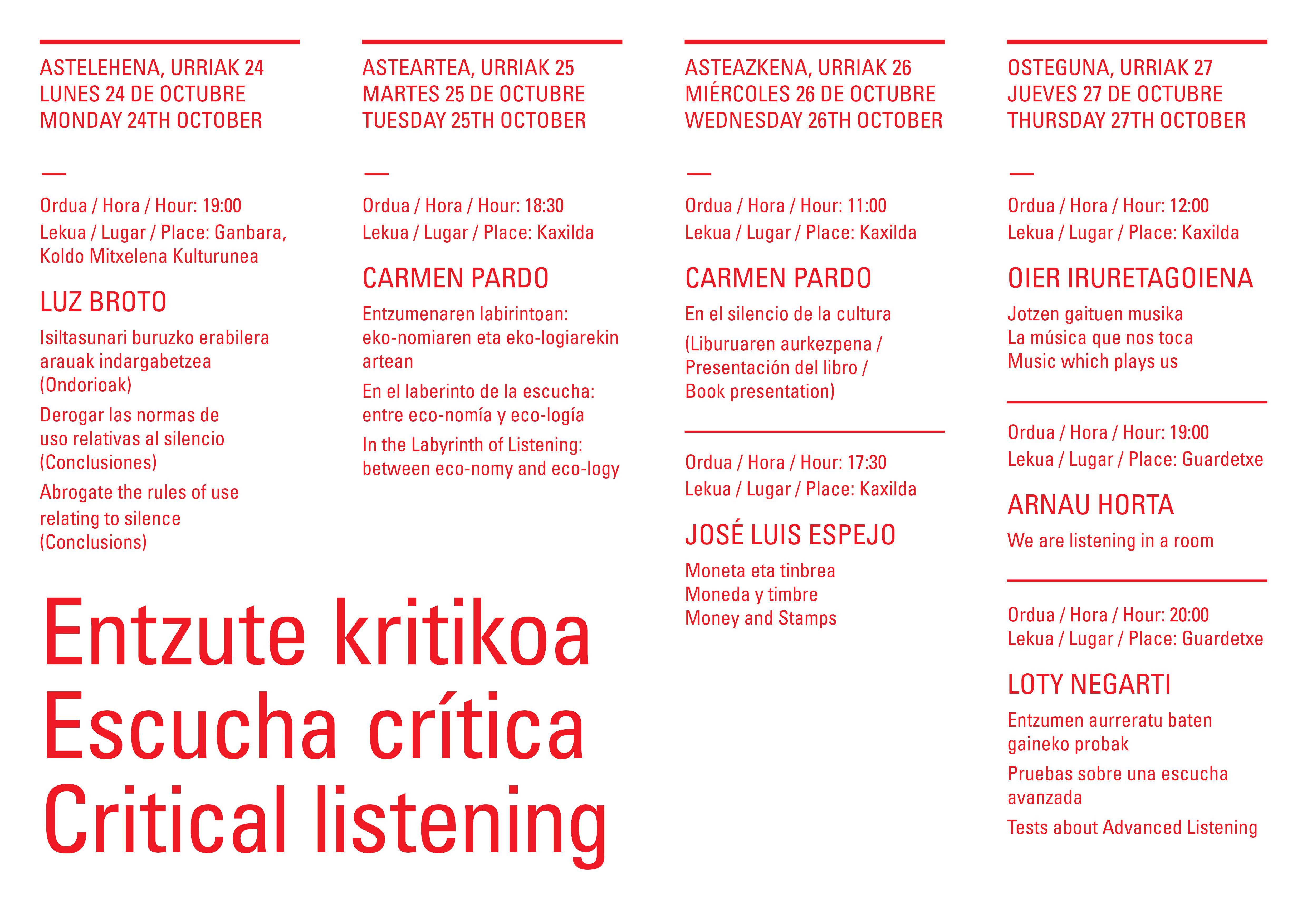programación del ciclo de audiciones Escucha Crítica