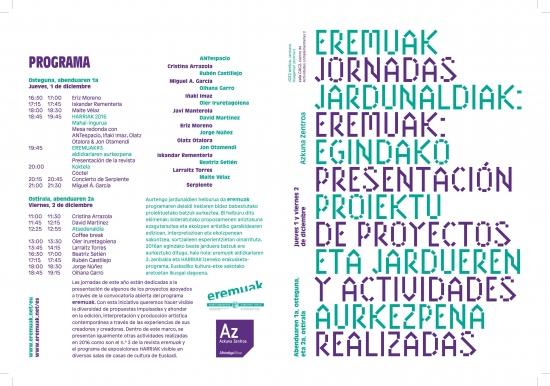 image of the eremuak sessions 2016 programme. Design: Gorka Eizagirre