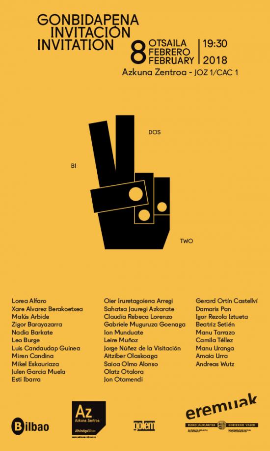 invitación inauguración Bi Dos Two. Gorka Eizagirre, diseñador