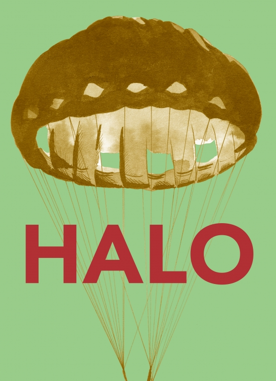 poster of the HALO exhibition in Arenatzarte, within the HARRIAK programme