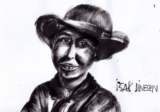 retrato-dibujo de Karen Blixen. Autora, Izibene Oñederra